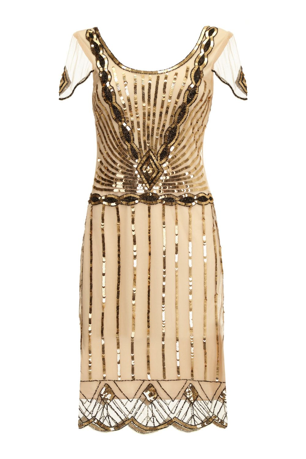Plus Size Eva Blush Dress with Sleeves Vintage 1920s Flapper Great ...