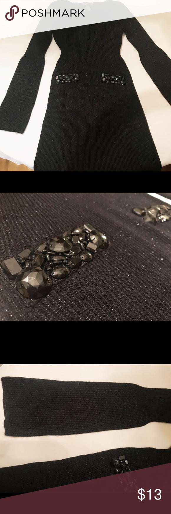 Inc black sweater dress w rhinestones long sleeve black sweater