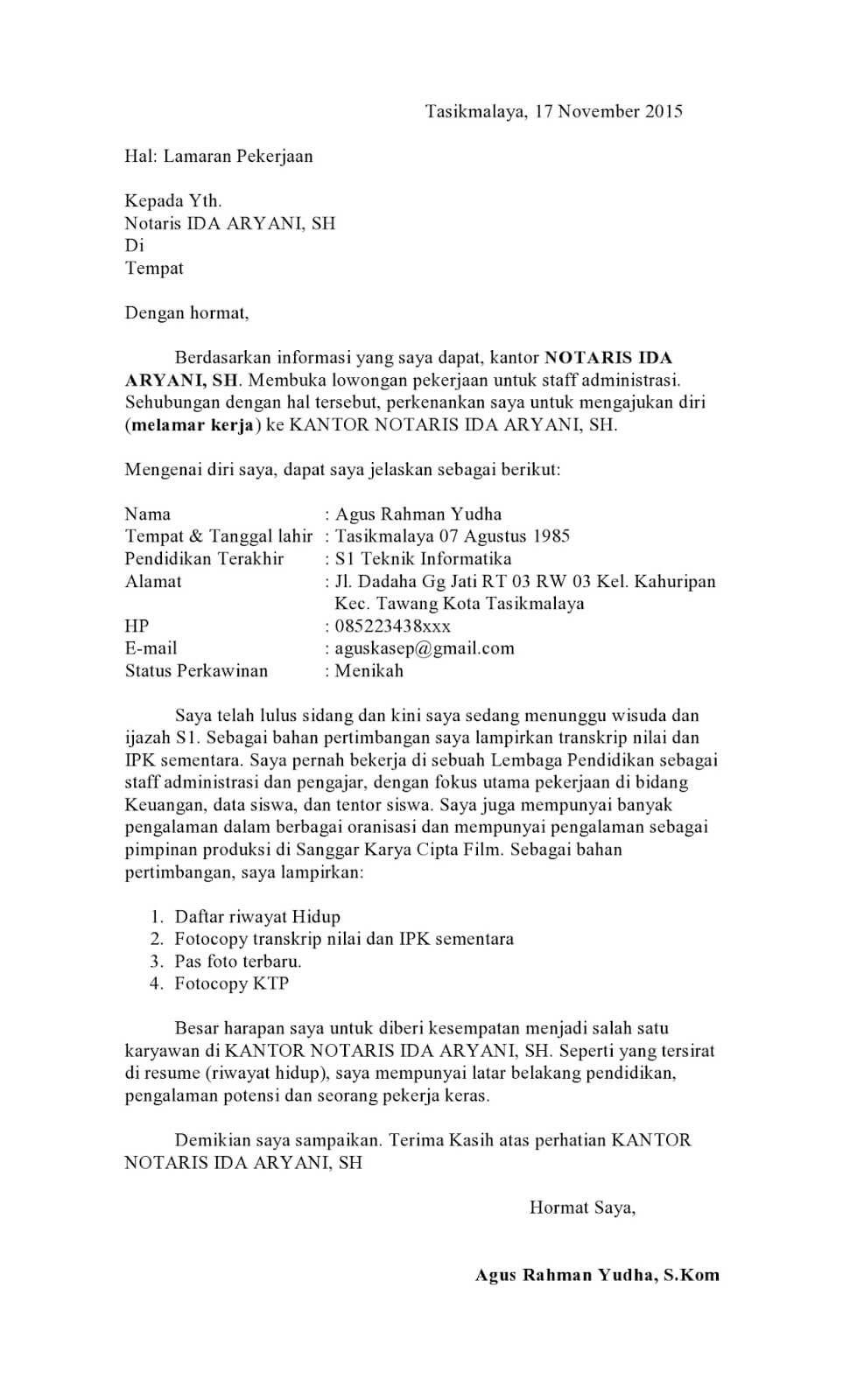 Contoh Surat Lamaran Kerja Di Kantor Notaris Lihat