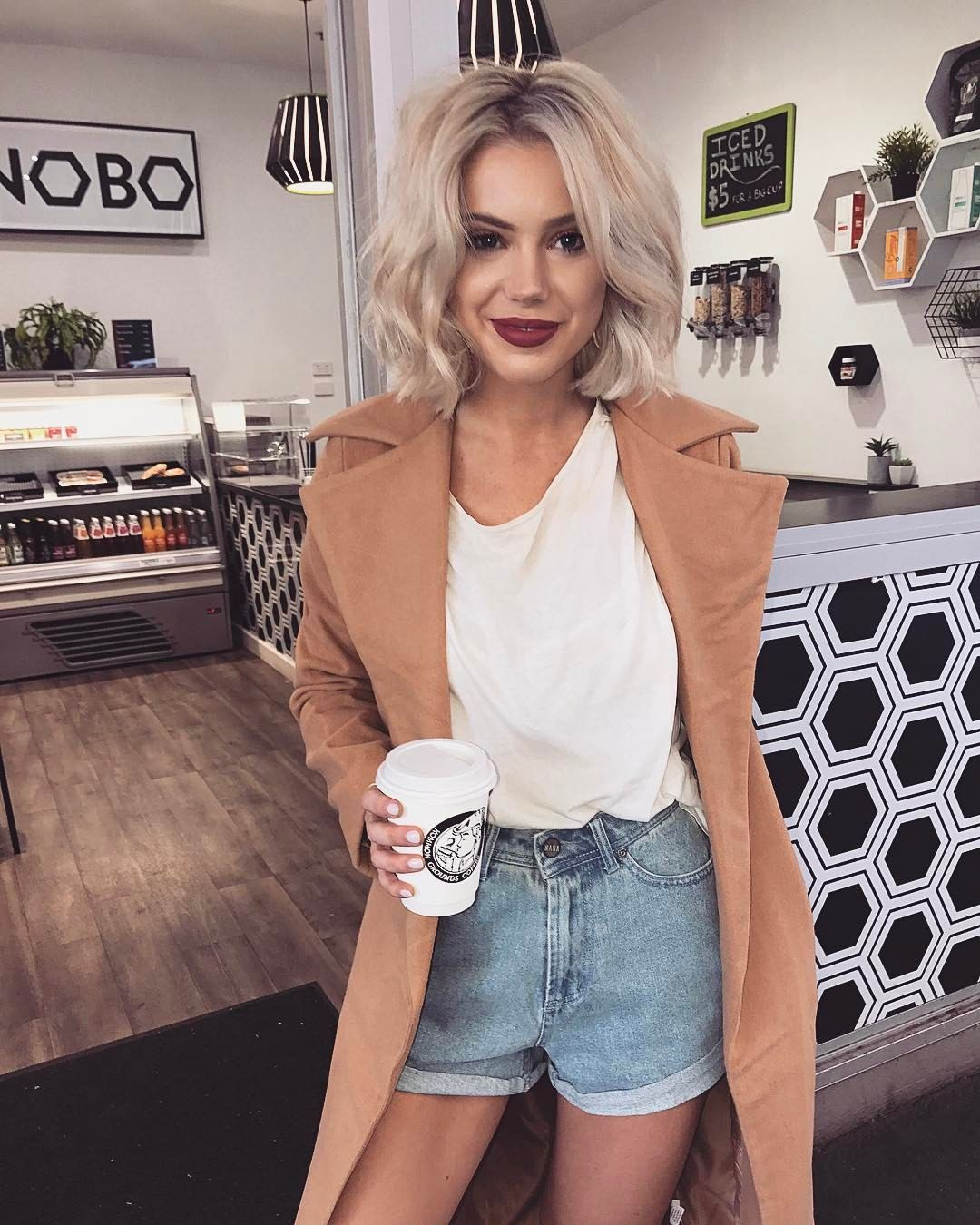 "Laura Jade Stone on Instagram: ""Weekend coffee dates ️loving this coat by @sundaysthelabel �"""