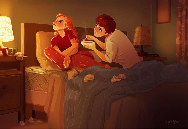Ilustrações encantadoras capturam os momentos íntimos de um casal apaixonado