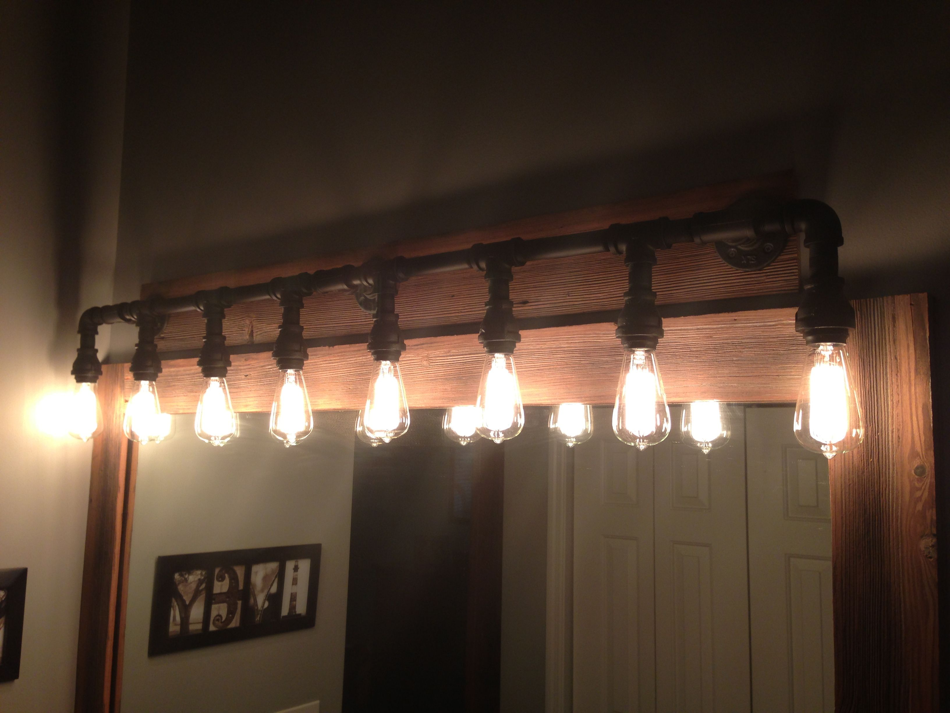 Built a vanity light from black iron pipe I got at Lowe s What I ve done Pinterest Iron ...