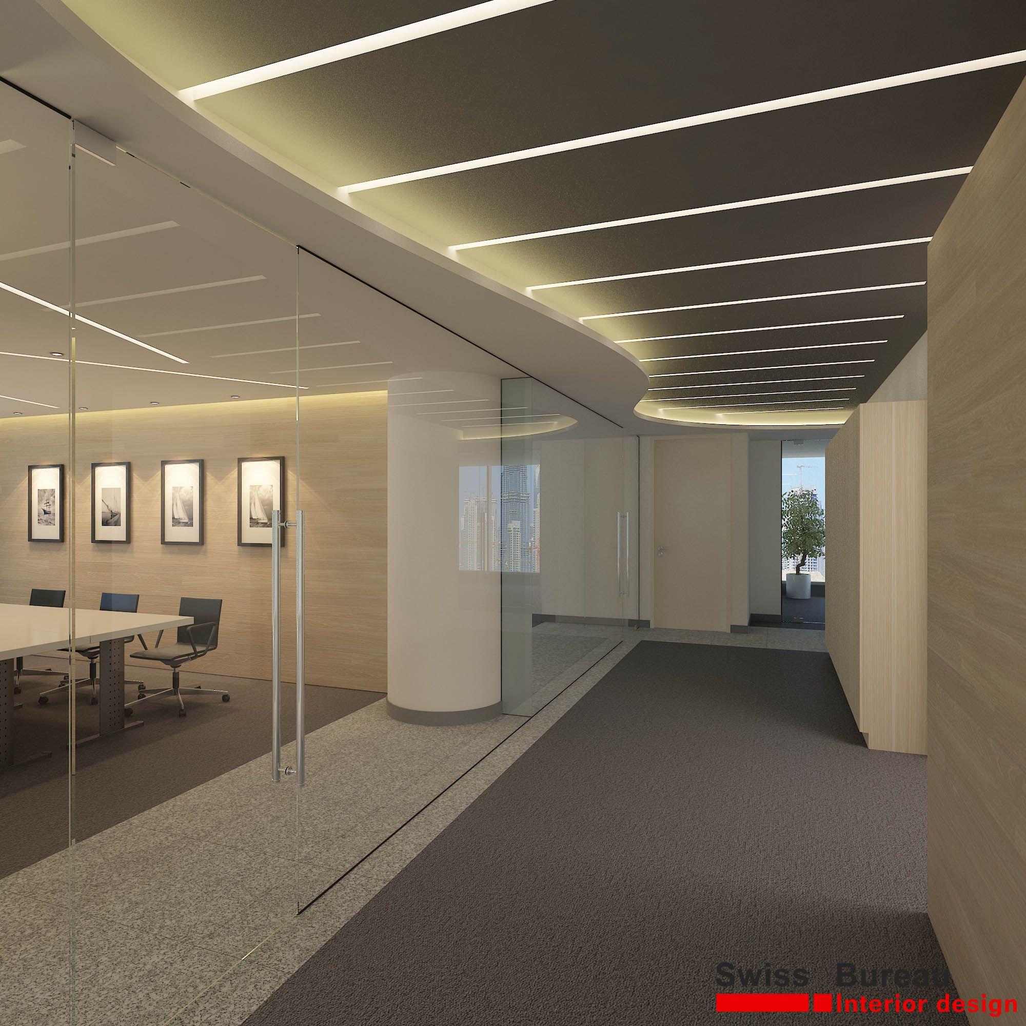Corporate office corridor design by swiss bureau for Iluminacion oficinas modernas