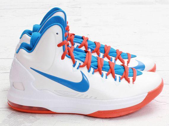 low priced acb89 faa71 Nike KD 5 – White   Photo Blue – Team Orange
