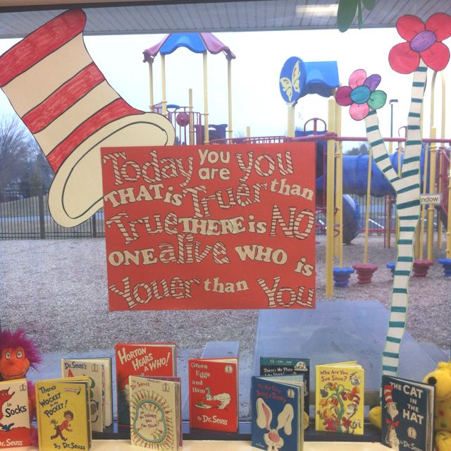 Dr. Seuss Inspirational Window Display In My Classroom