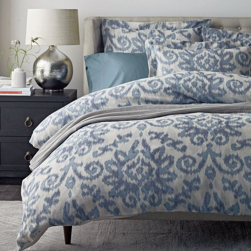Kasuri Cotton Linen Duvet Cover Inspired By Centuries Old Japanese Dyeing Techniques Our Ka Blue And Cream Bedroom Luxury Bedding Luxury Bedding Collections