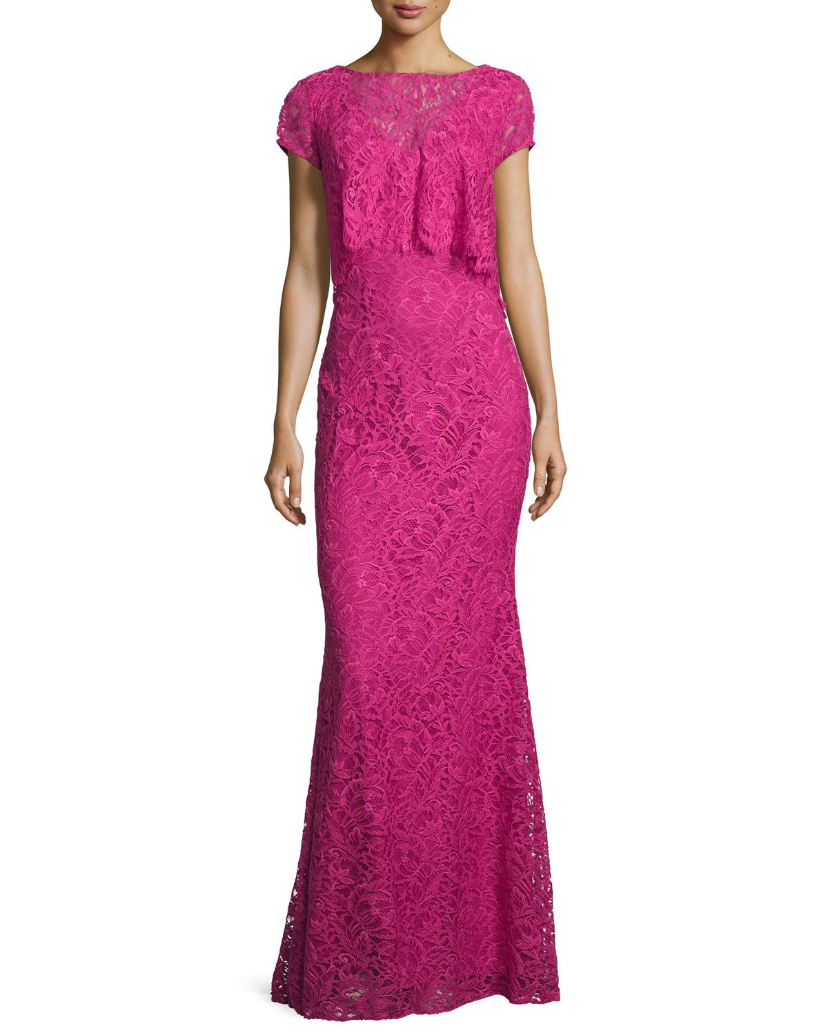 Cap-Sleeve Popover Lace Gown, Passion Fruit, Women\'s, Size: 0 ...