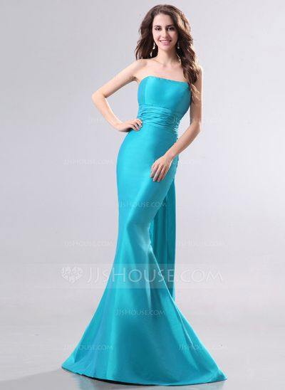 Trumpet/Mermaid Strapless Sweep Train Taffeta Evening Dress (017014276)
