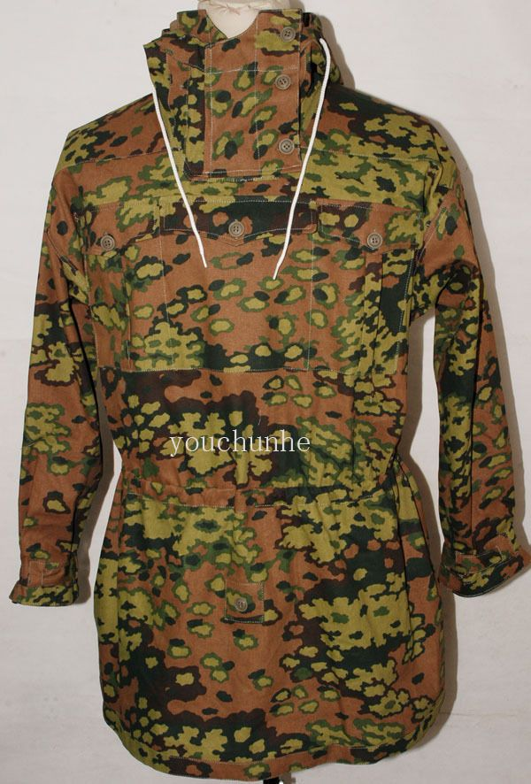 a70cb65333452 WWII GERMAN SPRING AND AUTUMN OAK CAMO REVERSIBLE MOUNTAIN ANORAK SMOCK  M-32471