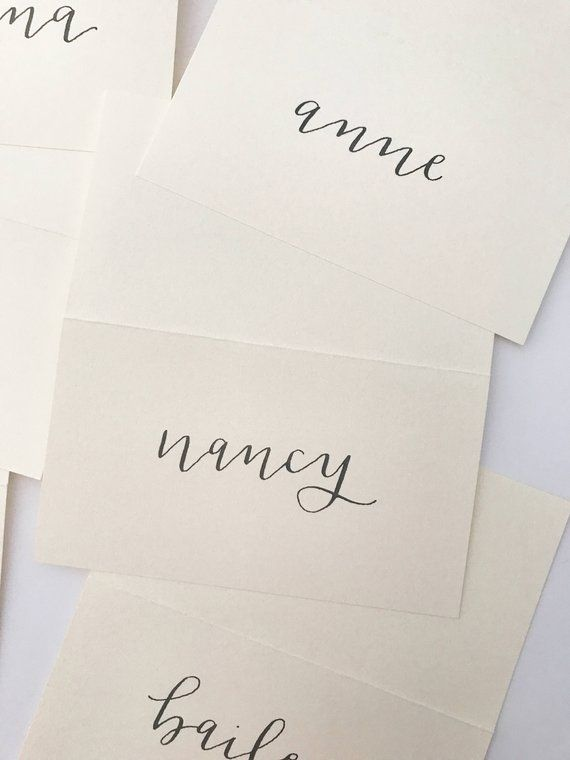 Tented Modern Calligraphy Place Cards Escort Cards Wedding