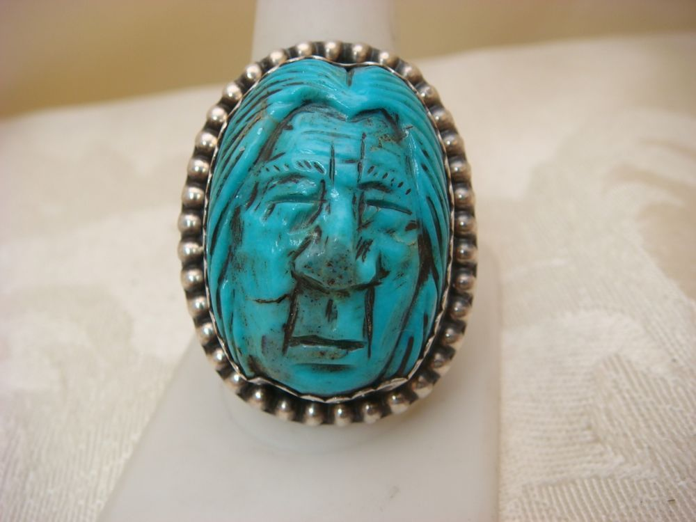 FRANCISCO GOMEZ RING STERLING SILVER FETISH TURQUOISE HAND CARVED FACE FETISH
