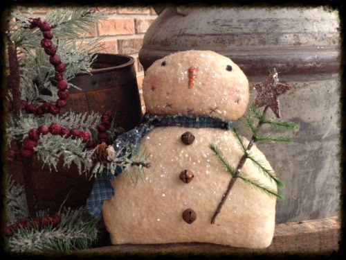 Primitive Snowman W/ Little Feather Tree