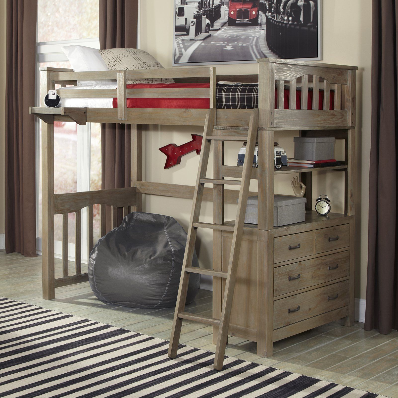 Wooden loft bed with desk  NE Kids Highlands Twin Loft Bed  from hayneedle  Bedroom ideas