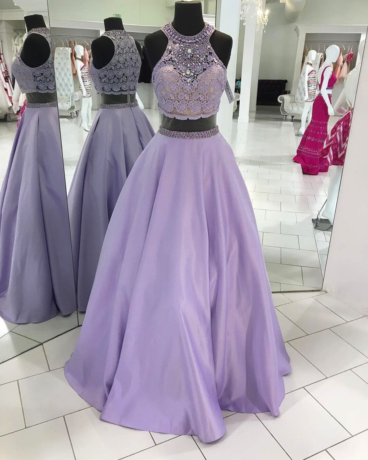 Lavender satin two pieces strapless long homecoming dress long