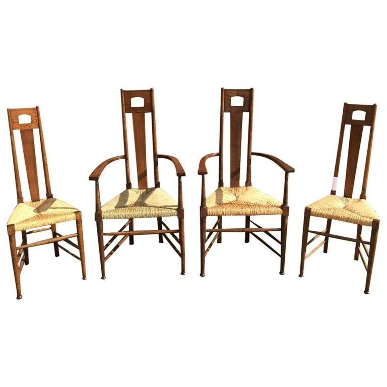 Perfect Set Of Four Glasgow School Oak Dining Chairs Attributed To E. G. Punnet |  1stdibs.com