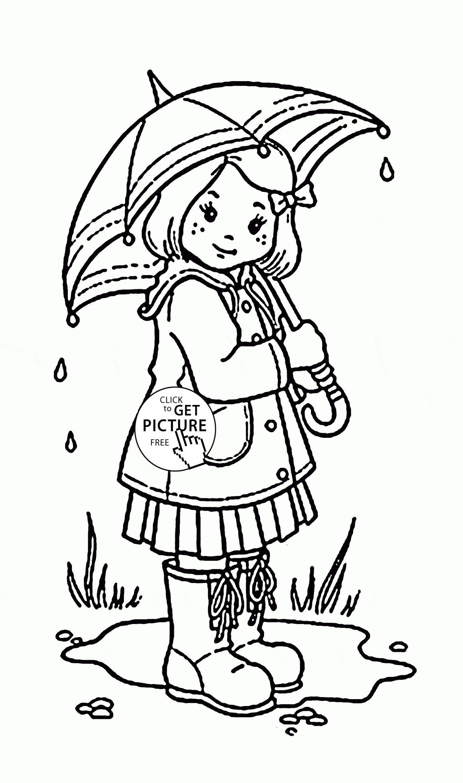 Nina Y Paraguas Para Colorear Para Ninos De Primavera Para
