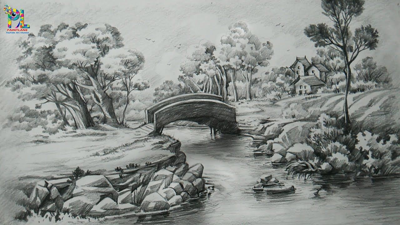How to draw a easy landscape with pencil strokes pencil shading step