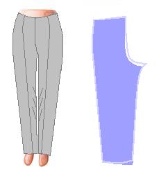 Если же стрелки «смотрят друг на друга», значит, передняя половинка оказалась выше задней по шаговому шву.Удалите наметку и приподнимите заднюю половинку брюк. Углубите средний шов, а образовавшийся излишек ткани заднего полотна заберите под пояс. Низки брюк тоже придется немного откорректировать.