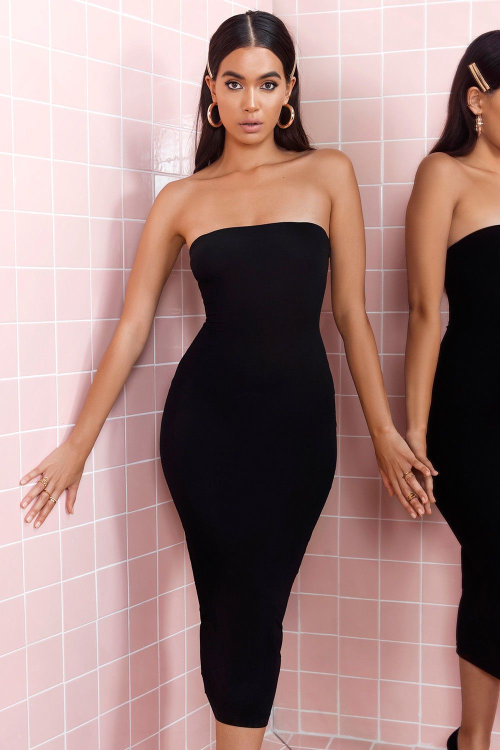 e97460c6231 HOUSE OF CB  LUCIANA  BLACK STRAPLESS SEAMLESS KNIT DRESS