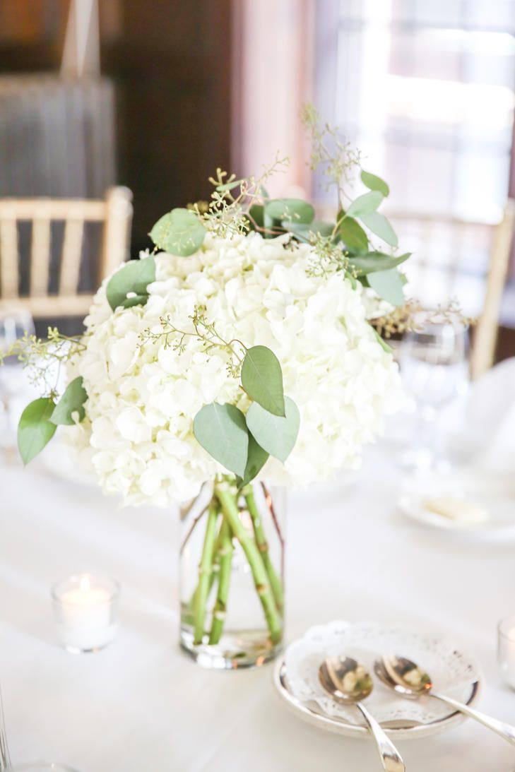 Hydrangea and eucalyptus centerpiece centerpieces