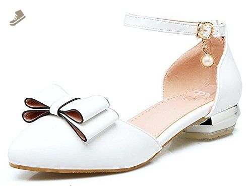 adcf766f5fce Sfnld Women s Sweet Bowknot Chunky Low Heels Pumps Shoes Ankle Strap White 4  B(M)US - Sfnld pumps for women ( Amazon Partner-Link)