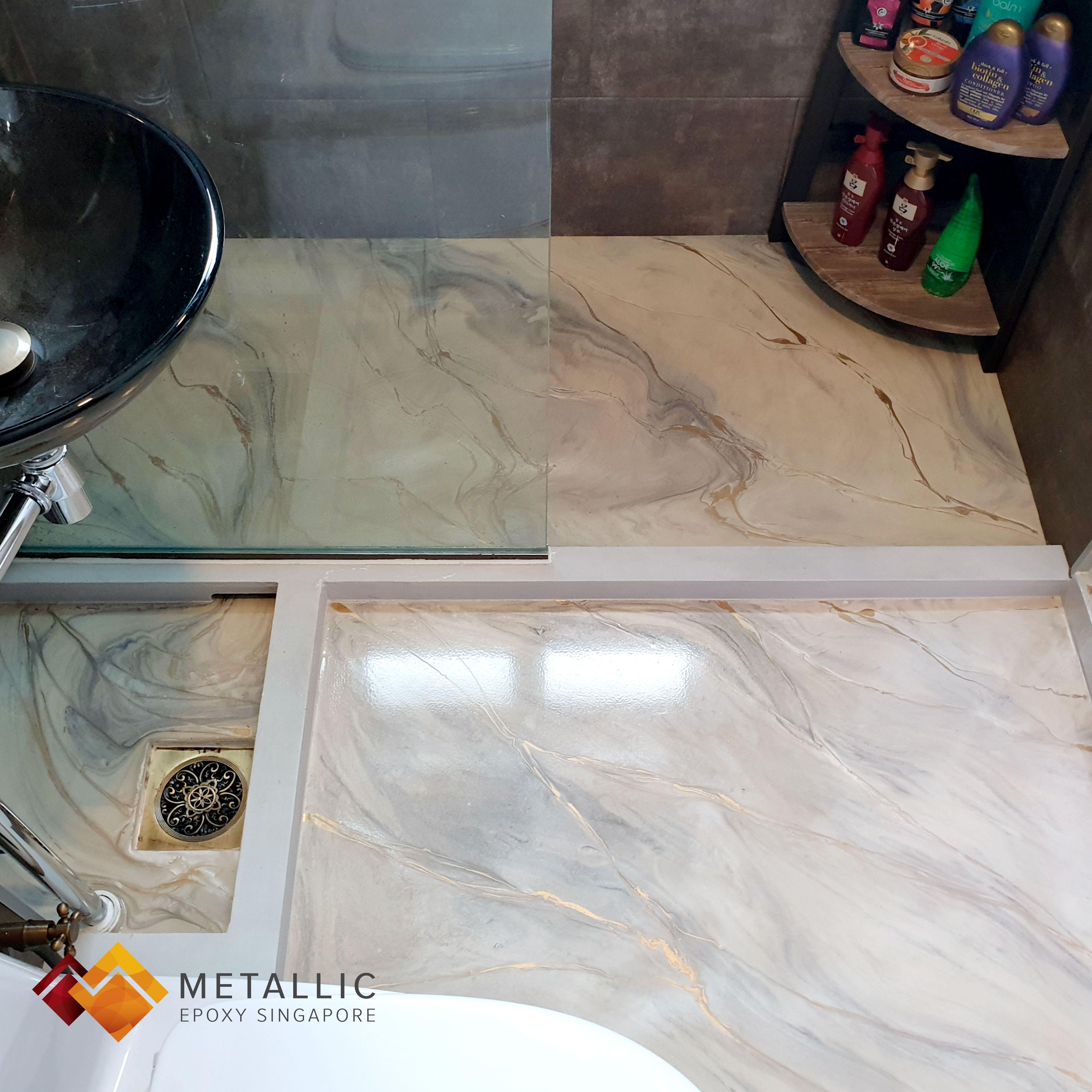 Metallic Epoxy Singapore Coffee Gold Highlights On Light Brown Base Bathroom Floor Bathroom Flooring Gold Highlights Buying Flooring