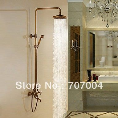 Antique Brass Bathroom Tub Rain Bath Shower Faucet Set W/ 8inch Round Shower  Head +