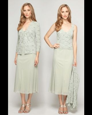 Alex Evenings 125461 Lace Top Jersey Mesh Flutter Dress with 3/4 Sleeve Sequined Jacket for $170.00