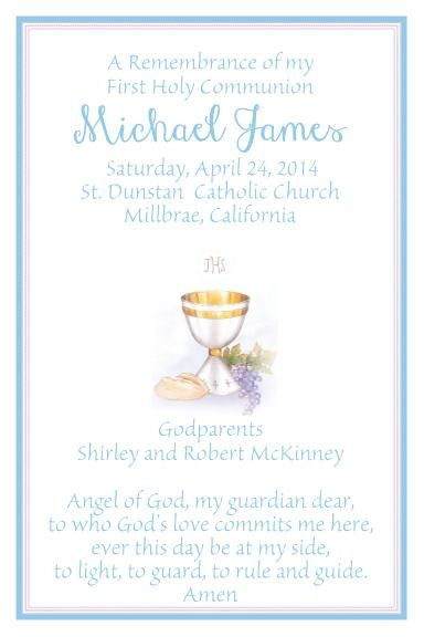 Printed First Communion Chalice Blue Prayer Or Remembrance Card