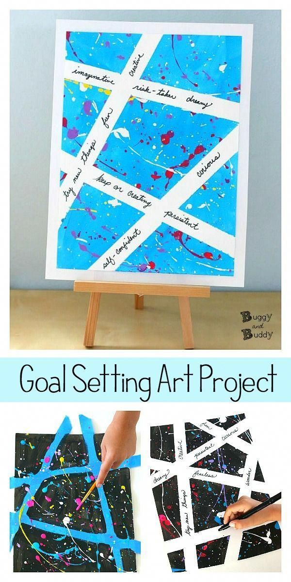 Inspirational Splatter Art and Tape Resist Art Project for Kids: Use this art activity to set goals or write words of positivity and encouragement. A great project for the beginning of the new year! #buggyandbuddy #artforkids #artprojects #diyorganization