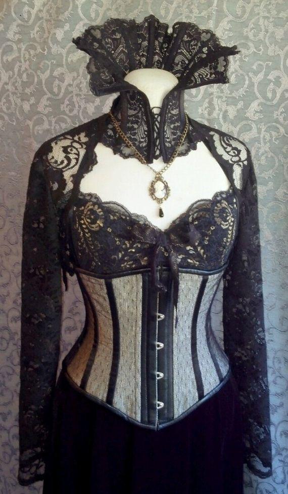 5cb98e4a13c Dramatic Victorian Steampunk Gothic Vampire black lace neck corset ...