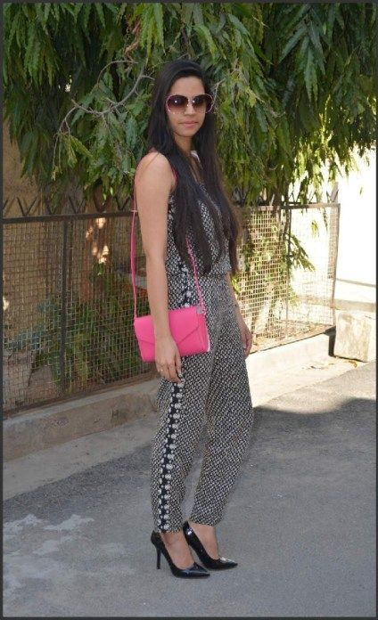 Outfit of the #Day: #Print #Silk #Jumpsuit and #Pink #Sling #Bag ...