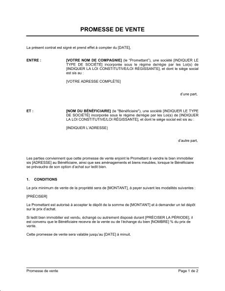 promesse de vente mod 232 les et exemples de formulaires biztree contrat exemple