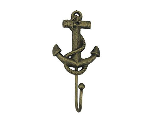 """Handcrafted Model Ships Rustic Gold Decorative Cast Iron Anchor Wall Hook 7"""" - Rustic Wall Art - Vintage Wall Decor"""