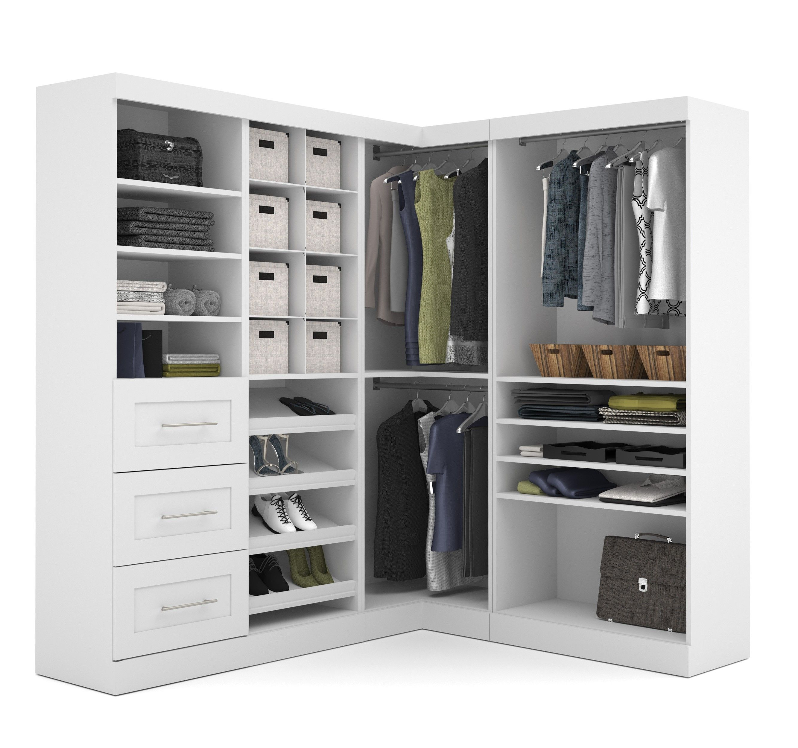"""Pure White 82"""" Corner Open Storage Unit With 3 Drawers"""