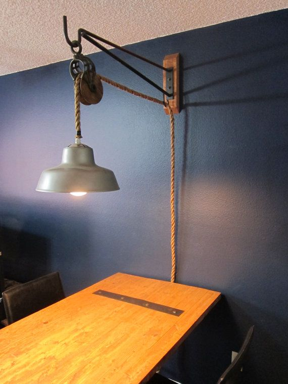 Wall Mount Pulley Light 150 00 Via Etsy In 2019