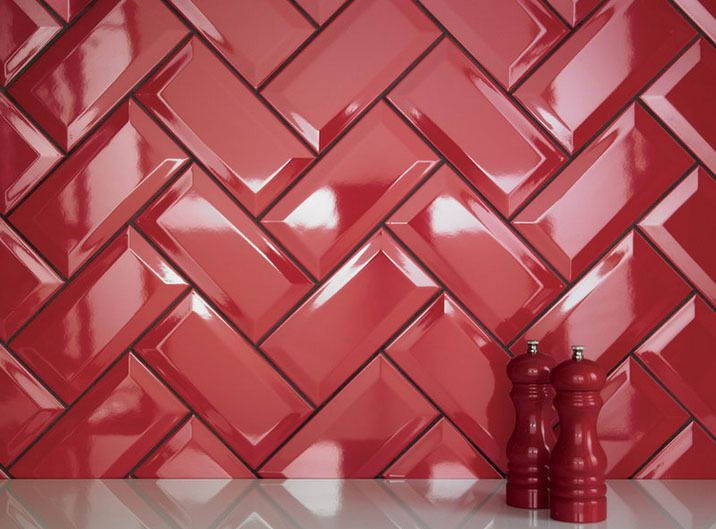 Kitchen Tiles Johnson johnson's bevel edge brick ceramic wall tiles - red (200x100mm