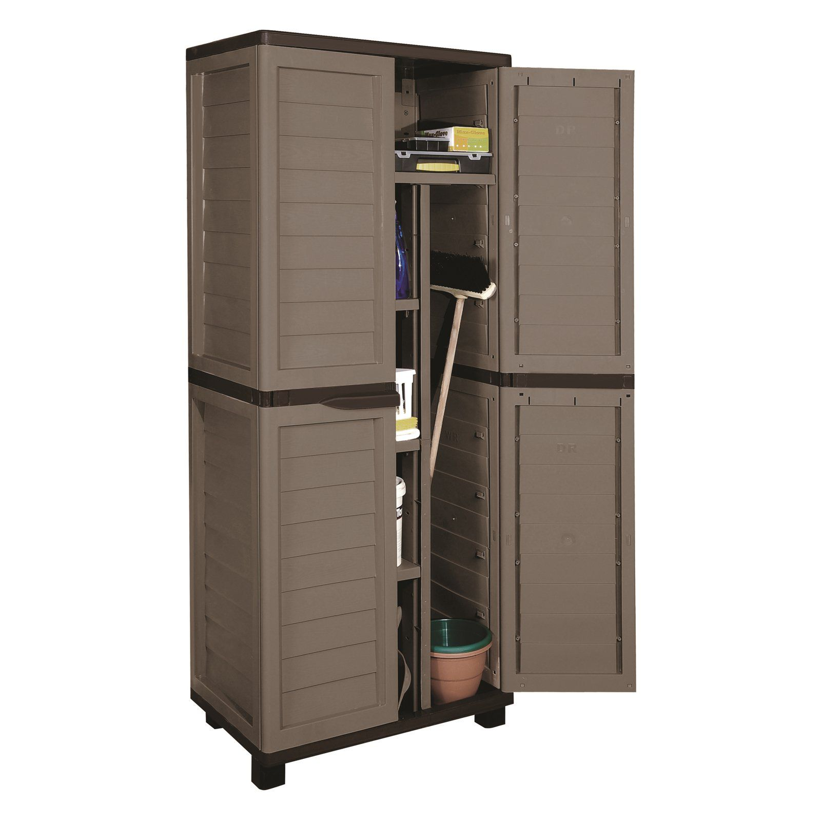 Starplast Storage Cabinet With 4 Shelves And Vertical Partition