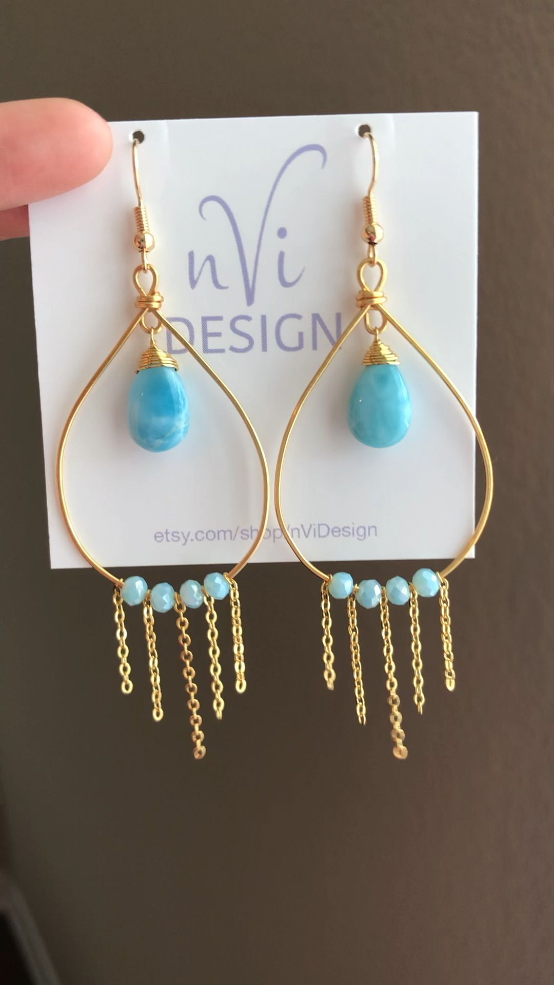 Photo of Blue gold earrings