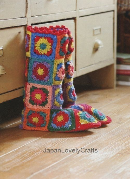 Granny Square Boots 18 Squares And A Sole Kawaii Knit Zakka Goods