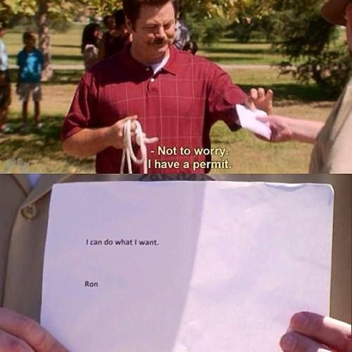 Ron Swanson Parks and Recreation Permit - I can do