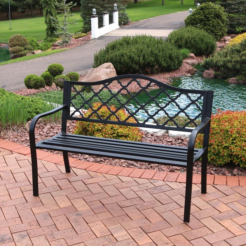 Sunnydaze Decor Lattice Black Cast Iron Outdoor Bench 400 x 300