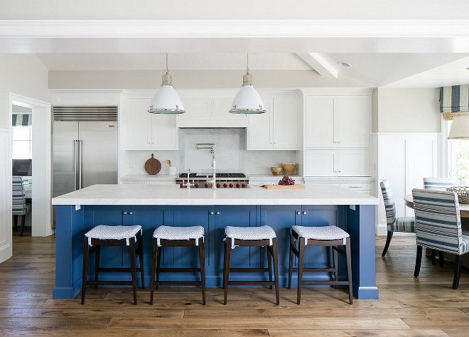 Ranch Style Home Renovation The blue island paint color is Farrow ...