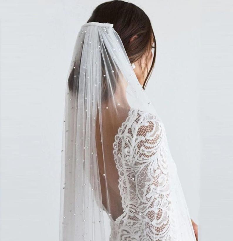 bridal veils Wedding veil with beads short veil blusher veils embroidered veil veil ivory elbow veil champagne veil fingertip veil