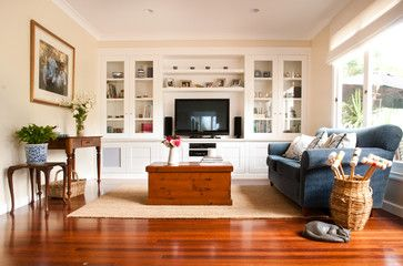 Traditional Living Room Tv built in tv cabinet and shelves. toowoomba house - traditional