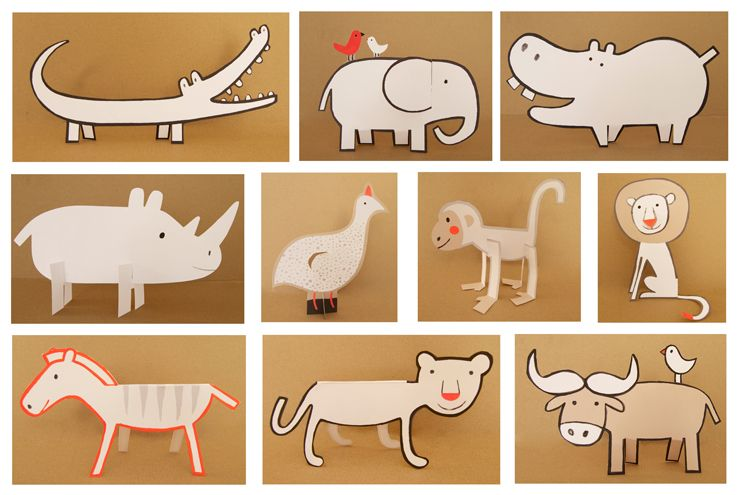 "All the Animals for the book  "" Up ! savannah "" Casterman publishing 2011 Pre-cut paper"