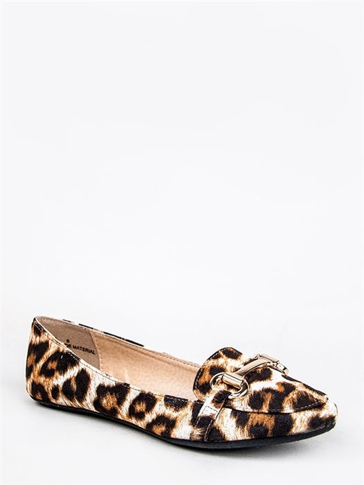 Bamboo LULA-58 Leopard Buckle Flat Loafer -