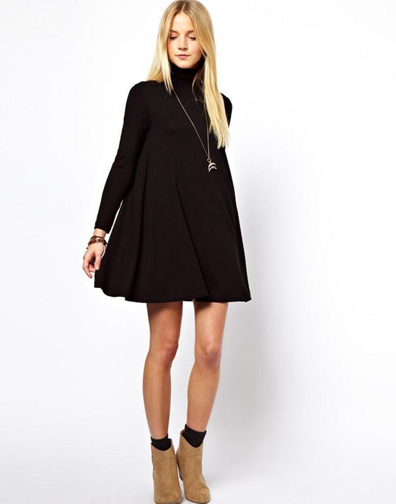 Autumn winter solid turtleneck long sleeve black dress swing sweater