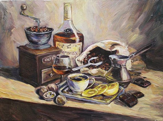 Still Life Original Oil Painting On Canvas Hennessy Cognac And Coffee Wall Decor Original Oil Painting Painting Hennessy