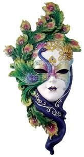 Lady Peacock Venetian Carnival Mask Measuring 13 3/4 inches tall